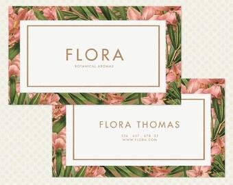 Floral Business Card Design. Botanical Branding Vintage Flowers Vintage Branding Shabby Business Card Design OOAK Green Leaf Leaves