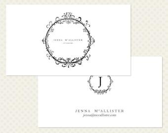 Flourish Business Card Design. Floral Frame Business Card Design. White Black Business Card. Minimal Chic Modern Elegant Business Card