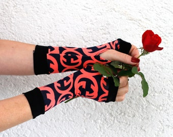 Black & Hot pink Fingerless Gloves Arm Warmers  -  Christmas,  Arm Warmers , modern, abstract, Armwarmers, handschuhe, stulpen, Stulpen yoga