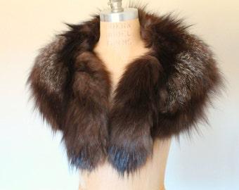VINTAGE 1940s GENUINE RACCOON Fur Women's Collar/Scarf/Shawl/Wrap Neck