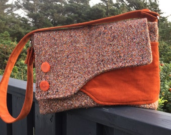 Messenger bag sewn from fine Italian tweed and corduroy - orange