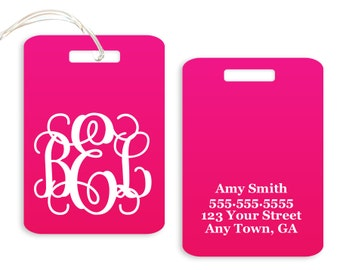 Monogram Luggage Tag // Personalized // Choose Your Color // Luggage or Backpack Tag