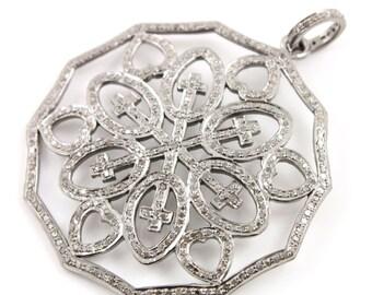 Pave Diamond Pendant, Pave Diamond Circle Art Deco Pendant, Diamond Designer Charm, Pave Fancy, Pave Connector, Oxidized Silver.(DCH/CR324)