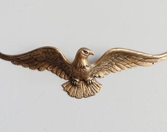 Vintage Brass Bald Eagle Wall Hanging