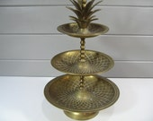 Brass Pineapple Three Tiered Serving Tray, Hollywood Regency, Vintage Brass Dish Tray Server