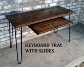 Keyboard tray, with slides, locks in/out, reclaimed wood, made to order, various lengths, add on listing