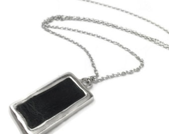 Silver  Rectangle Necklace, Simple Jewelry, Silver and Black, Resin Jewelry, Geometric, Gift Idea for Girlfriend