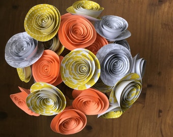 Paper flower bouquet, lime green paper flowers. Paper rose bouquet