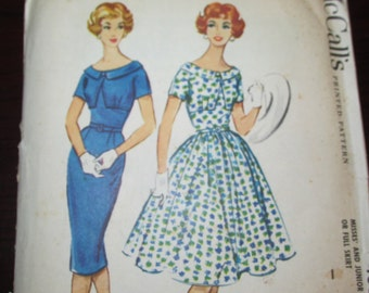 "Vintage 1950s McCall's 4884 Misses DRESS Slim or Full Skirt Sewing Pattern Size 16 Bust 36"" New / Uncut"