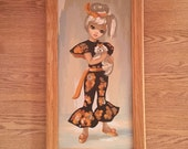 1960s 60s Big Eye Keane eye Print Framed Girl with her dog