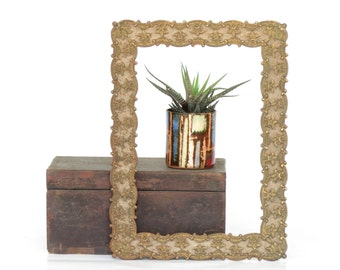 Vintage Ornate Iron Picture Frame - Antique Iron Picture Frame - Old Metal Decorative Picture Frame - Home Decor - Old Frame
