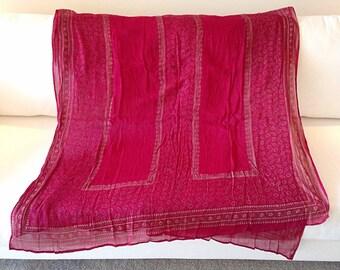 Beautiful Burgundy Gauze Like Tribal Textile Hippie Scarf Boho Wrap Indian Sari