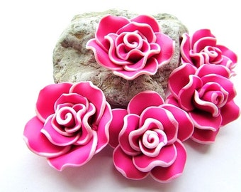 6pcs Fimo Polymer Clay Flower Beads 30 mm Pink Rose Beads Fimo Flower Beads Polymer Clay Rose Beads Craft Supply (6)