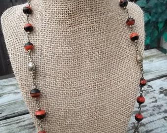Orange Black Bead Necklace Burnished Gold Tone Pierced Earrings 2 Piece Set
