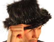 Black Sparkle Faux Fur Fluffy Fedora Hat Monster Music Burning Man Furry Clothing Apparel Halloween pimp outfit for men New years Christmas