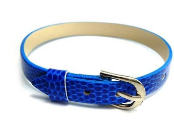 8mm Blue Leatheroid 8mm Slider Wristband - 8mm Alphabet Slide Letter Band Wristband