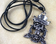 Guns n roses vintage deadstock necklace 90s • skull logo band rock roll music 80s 1990 heavy metal filled pendant top hat tour adjustable