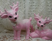 Pair of Pink Deer - Adorable all dressed up with white roses and lace.  Beautiful under your Pink Christmas Tree