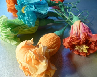 Vintage Handmade Crepe Paper Flowers Made in Mexico Decorations Set of 10