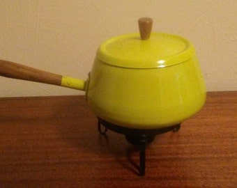 Chartreuse Yellow Fondue Pot and Stand made in Japan - 1970s
