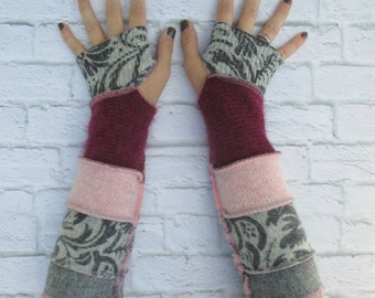 Thankful Rose - Upcycled Sweaters - Upcycled Clothing - Wrist Warmers - Long Recycled Sweater Arm Warmers - Long Fingerless Gloves - Boho