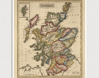 Old Scotland Map Art Print 1817 Antique Map Archival Reproduction