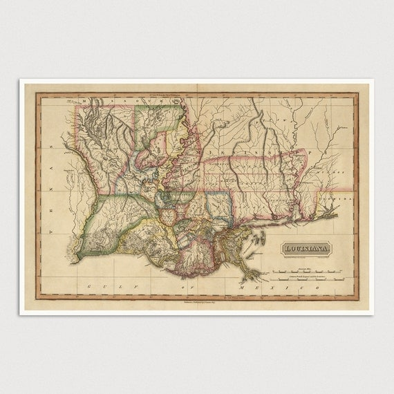 Old Louisiana Map Art Print 1817 Antique Map Archival Reproduction