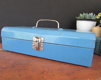 Small Metal Toolbox Vintage Blue Tool Box
