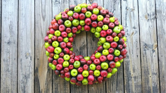 Apple Wreath, Green and Red Apple Wreath, Christmas Wreath, Holiday Wreath, Fall Wreath, Autumn Wreath