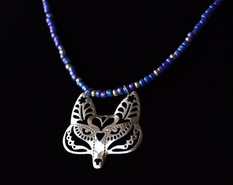 Beaded Flower Fox / Wolf Filigree Necklace, Beaded in Blue