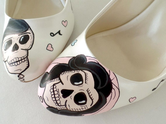 Wedding Shoes - Handpainted Customized- Rockabilly Vintage