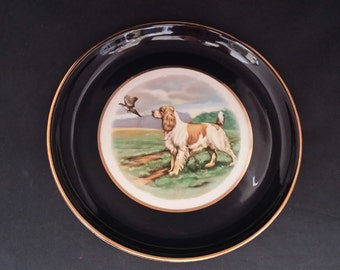 Vintage Hyalyn Porcelain Plate with Spaniel