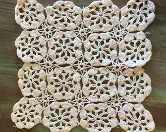 Crocheted Doily / Vintage Cotton Doily Cream Off White Square Doily for Holidays, Table Setting, Display, Gift Giving