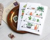Cactus Plant Shelfie - postcard watercolor art set of two