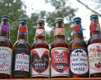 Valentine Beer Labels For Him