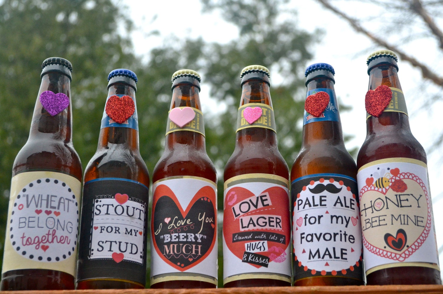 This is an image of Dramatic Free Printable Valentine Beer Labels