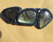 Barrette, labradorite cabs bead embroidered with rainbow blue seed beads and two fresh water pearls