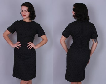 1950s EYELET LACE Dress | Vintage 50s 60s Black Cotton Sheath Dress | large