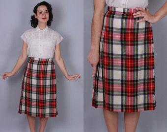 sale! 1960s PLAID SKIRT | Vintage 60s Wool WRAP Skirt | small to medium