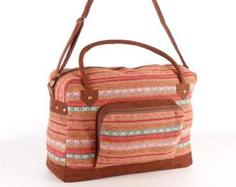 Dazzling Cotton Weekender Bag, Overnight Bag, Getaway Bag, College Bag, Boho, Traditional Style