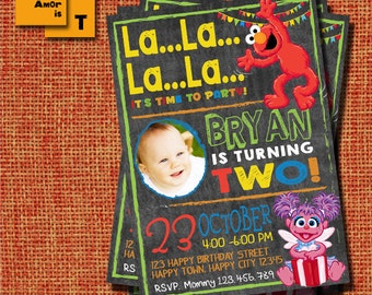 Elmo Invitation, Elmo Birthday Invitation, Sesame Street, Elmo Birthday Party, 1st birthday, 2nd, 3rd, Birthday Invitation, invites T-22