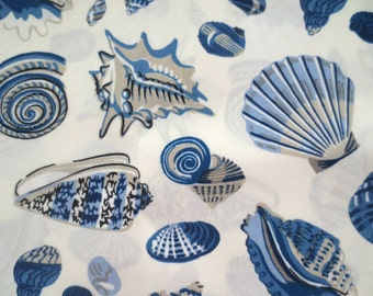 OUTDOOR Pillow Cover in a Blue Seashell Nautical Print / Blue Pillow Cover
