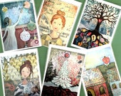 Soulful christmas cards - 6 normal single postcards on recycled paper