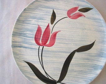 5 Stetson Pink Tulip with Gray Stripes Dinner Plates Set of 5 Vintage 1950s