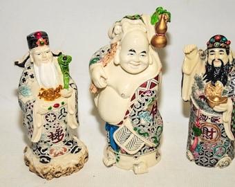 Chinese Porcelain Figures, Confucius, Buddha and Lao Tzu