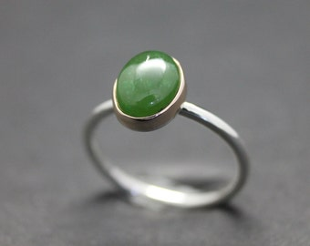 Sterling silver, 9ct rose gold and jade ring