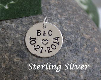 Sterling silver anniversary charm, personalized anniversary gift, wedding gift, gift for wife, anniversary pendant, 18mm round