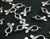 Awareness Hope Ribbon Charms (Package of 25) In Silver Color CH005