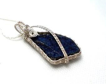 Azurite pendant, azurite crystal pendant, azurite silver pendant, blue gemstone pendant, wire wrapped pendant