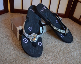 SALE! Bling Flip Flops with clear Concho